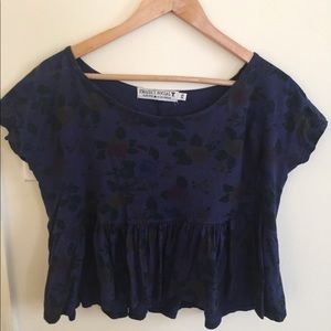 Navy Floral Cropped Tshirt